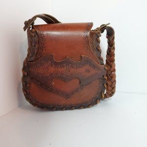 Leather shoulder bag purse mexican boho style
